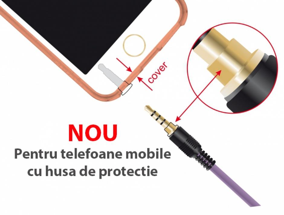 Imagine Cablu audio jack stereo 3.5mm (pentru smartphone cu husa) T-T 4 pini 3m mov, Delock 85602-2