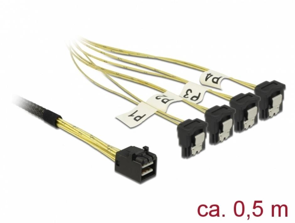 Imagine Cablu Mini SAS HD SFF-8643 la 4 x SATA unghi 0.5m, Delock 85684