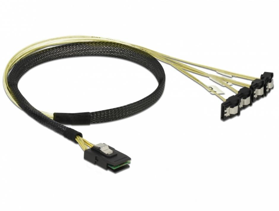 Imagine Cablu Mini SAS SFF-8087 la 4 x SATA unghi 0.5m, Delock 85686-1