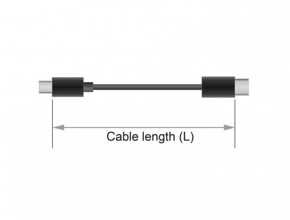 Imagine Cablu audio jack stereo 3.5 mm 5 pini T-T 2m Negru, Delock 85697-2