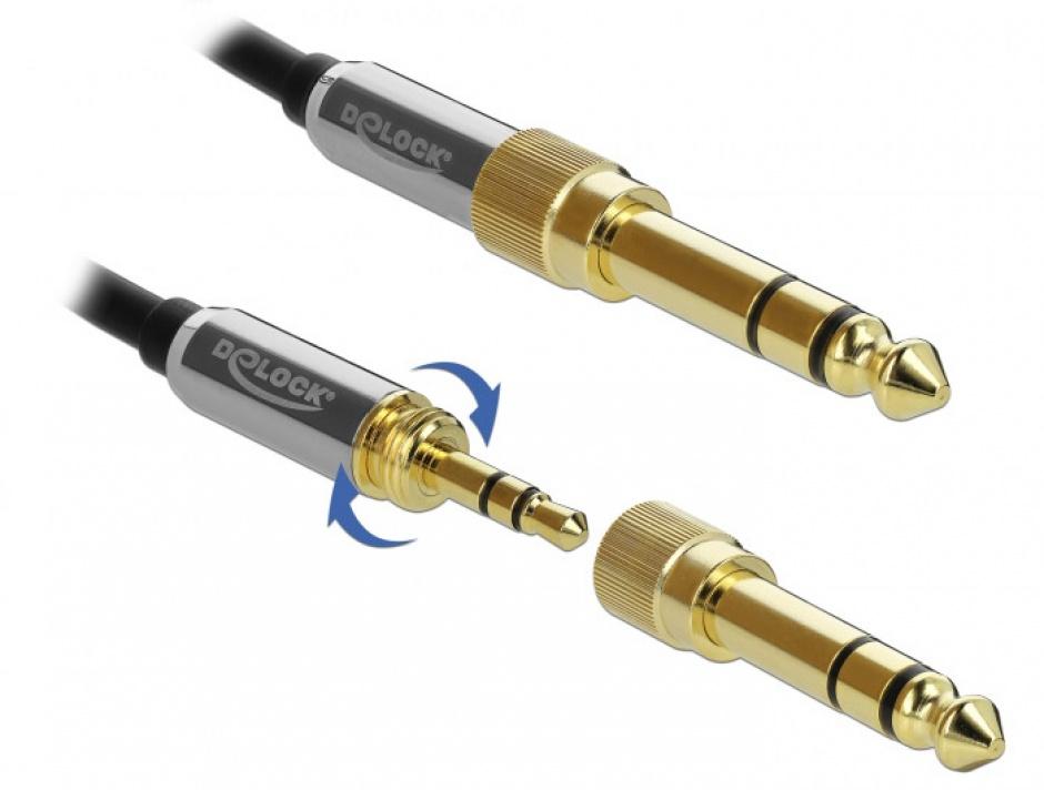 Imagine Cablu prelungitor jack stereo 3.5mm 3 pini T-M + adaptor cu surub 6.35 mm 3m, Delock 85782-3