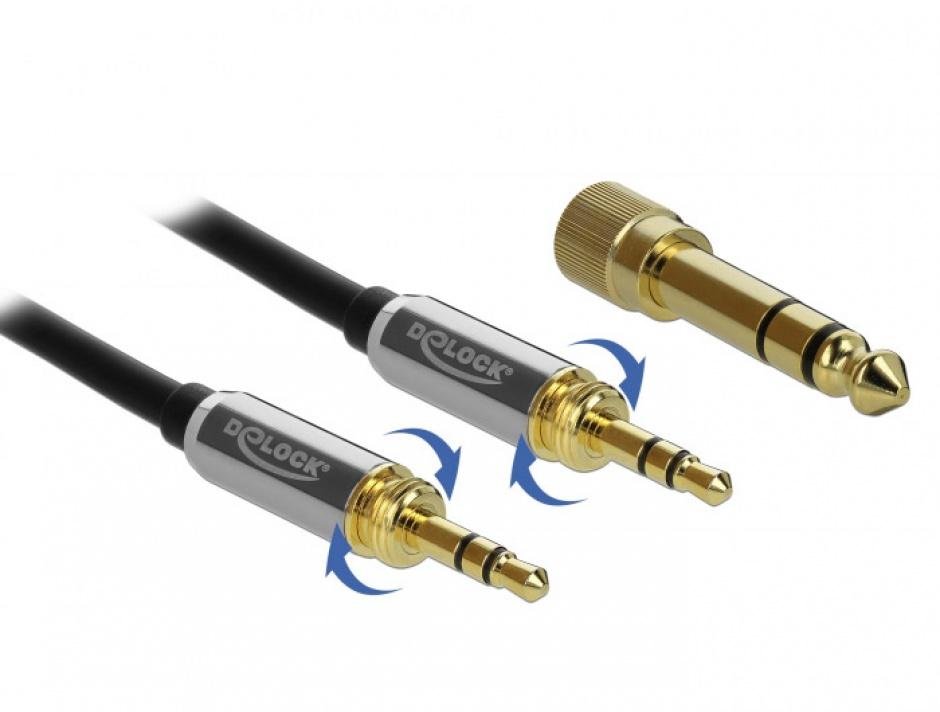 Imagine Cablu jack stereo 3.5mm 3 pini T-T + adaptor cu surub 6.35 mm 1m, Delock 85785