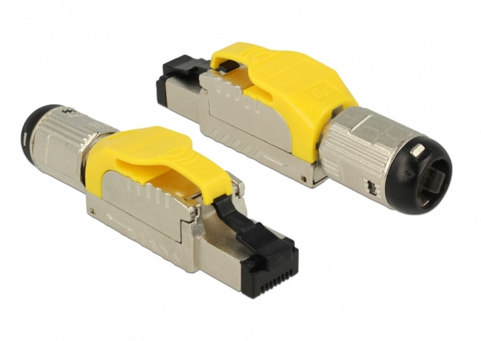 Imagine Conector de ansamblat RJ45 cat 6A pentru fir solid metal, Delock 86287