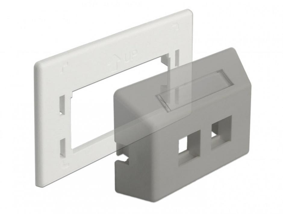 Imagine Placa de adaptare keystone pentru priza de instalare in mobilier Alb, Delock 86290-1