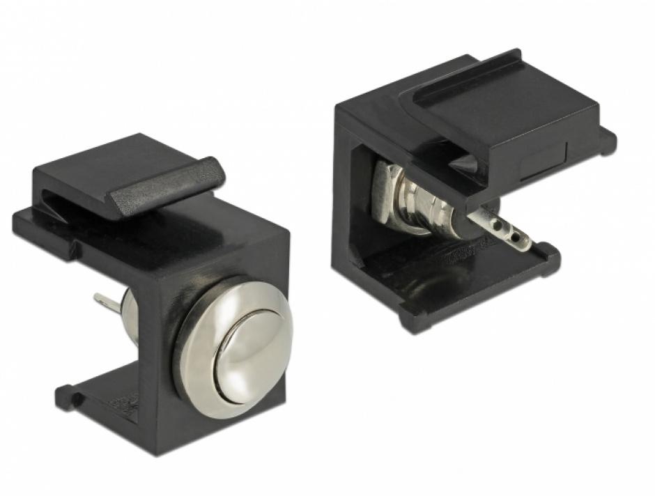 Imagine Keystone negru cu buton Push, Delock 86402