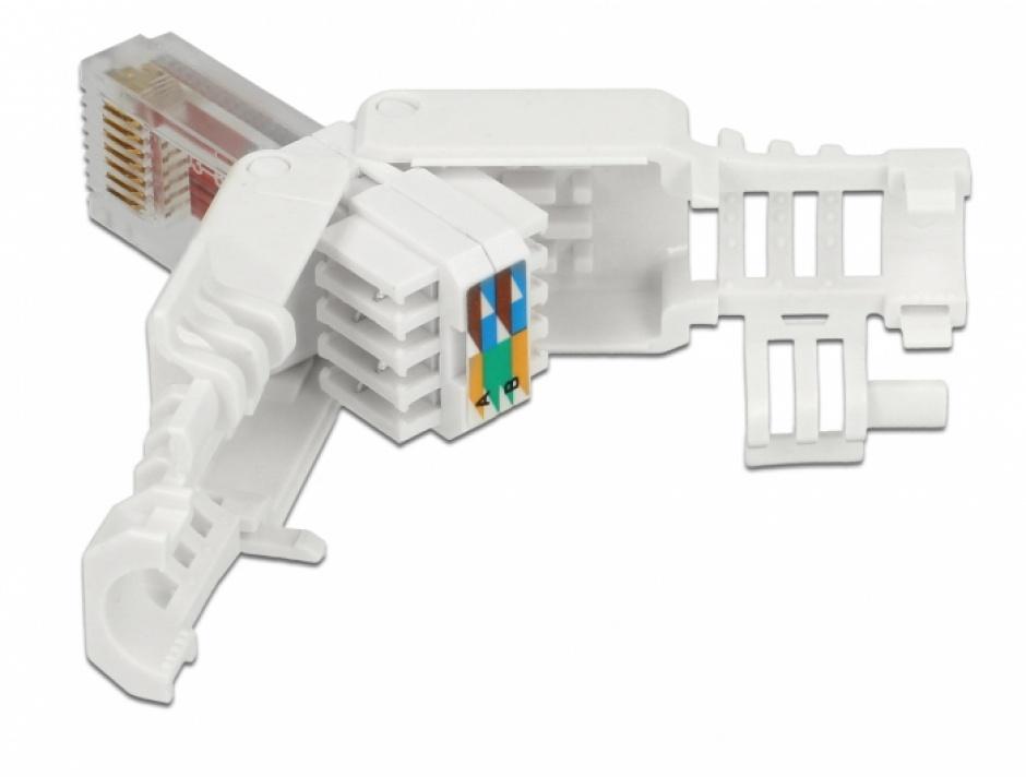 Imagine Set 2 bucati conector RJ45 Cat.6 pentru fir solid UTP toolfree, Delock 86416