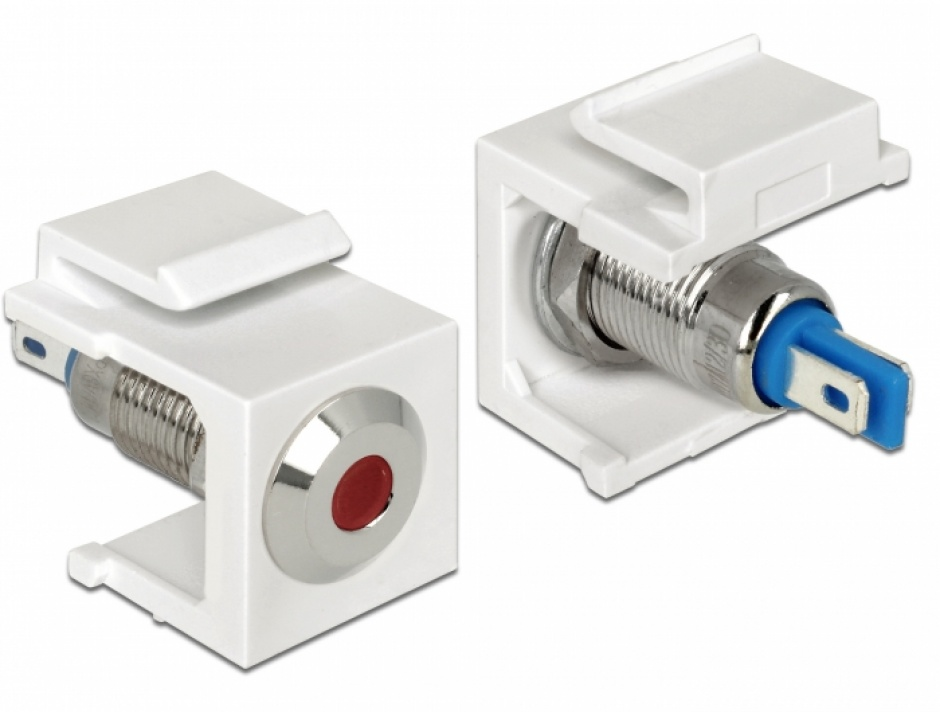 Imagine Keystone alb cu LED rosu 6V flat, Delock 86433