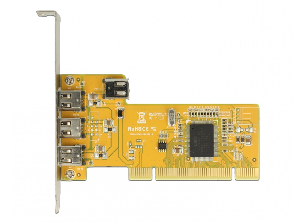 Imagine PCI Card cu 3 x external + 1 x internal FireWire A, Delock 89443-2