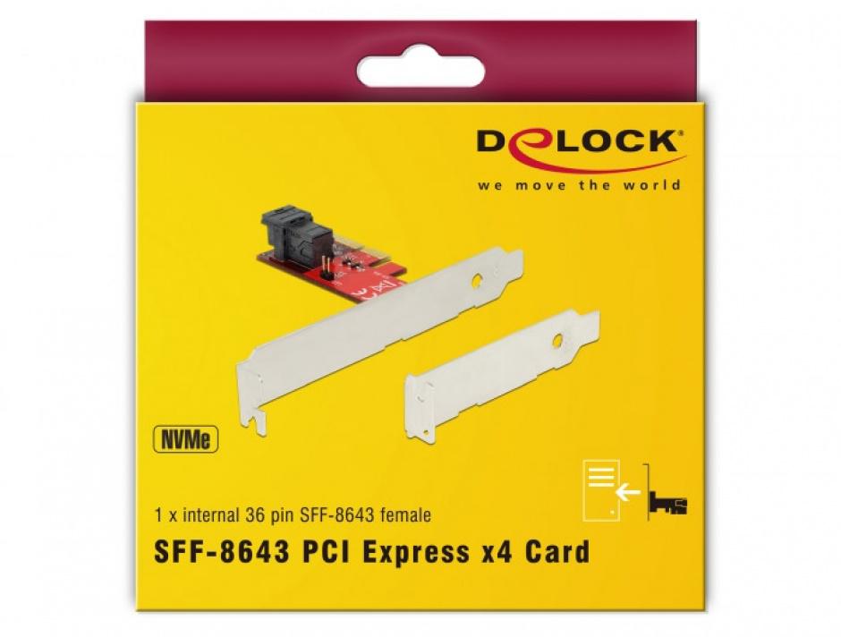 Imagine PCI Express cu 1 port SFF-8643 NVMe LPFF, Delock 89535-4
