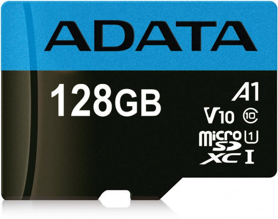 Imagine Card de memorie MicroSD SDXC 128GB clasa 10 + adaptor SD, ADATA