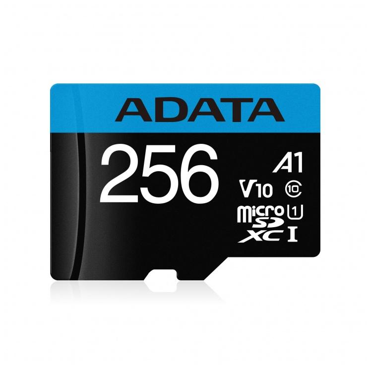 Imagine Card de memorie MicroSD SDXC 256GB clasa 10 + adaptor SD, ADATA