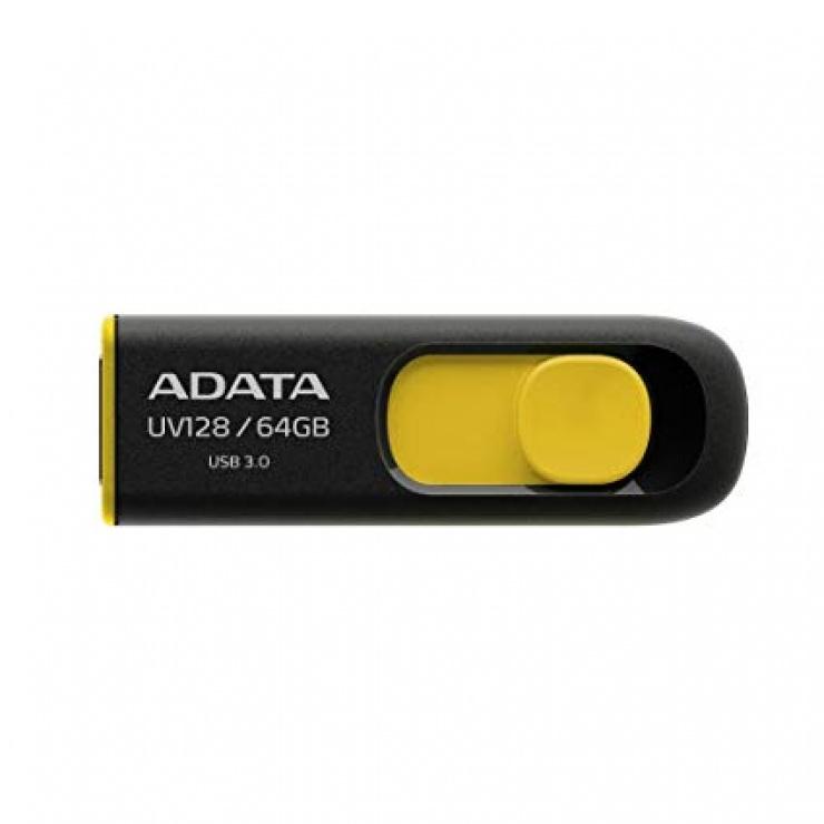 Imagine Stick USB 3.1 64GB UV128 retractabil Negru/Galben, ADATA AUV128-64G-RBY