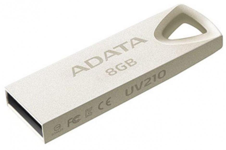 Imagine Stick USB 2.0 8GB aliaj zinc, rezistent la apa/praf/socuri Gold Crom, ADATA