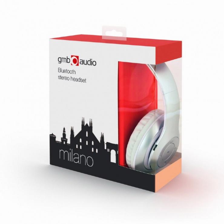 Imagine Casti bluetooth v4.2+EDR cu microfon Milano Alb, Gembird BHP-MXP-SW-2