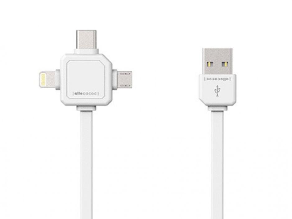 Imagine Cablu date si incarcare 3 in 1 (micro USB, USB-C, Lightning) 1.5m Alb, Allocacoc