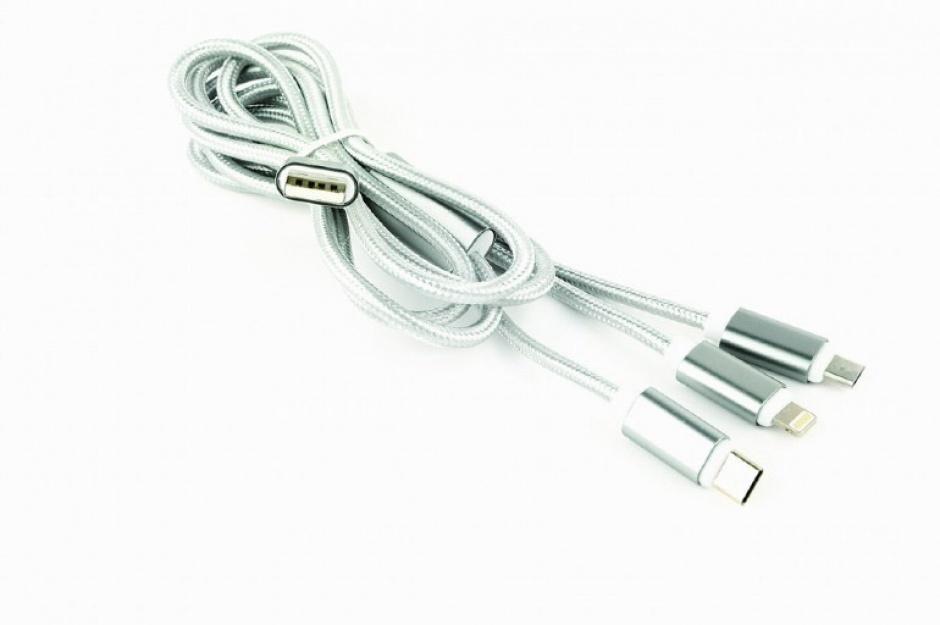 Imagine Cablu USB 2.0 la Micro USB-B, USB-C si Lightning Apple 1m, Gembird CC-USB2-AM31-1M-S-1