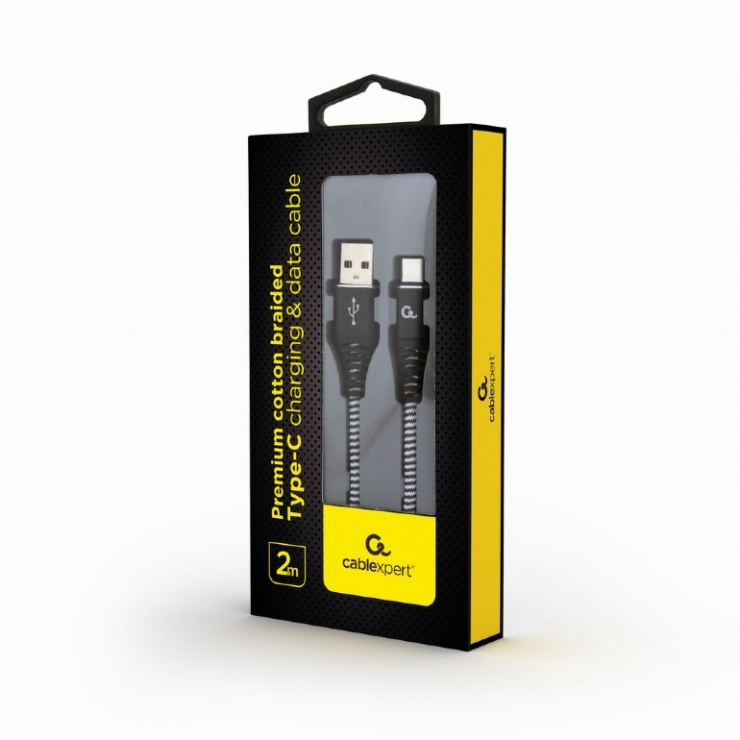 Imagine Cablu USB 2.0 la USB-C Premium Alb/Negru brodat 2m, Gembird-1