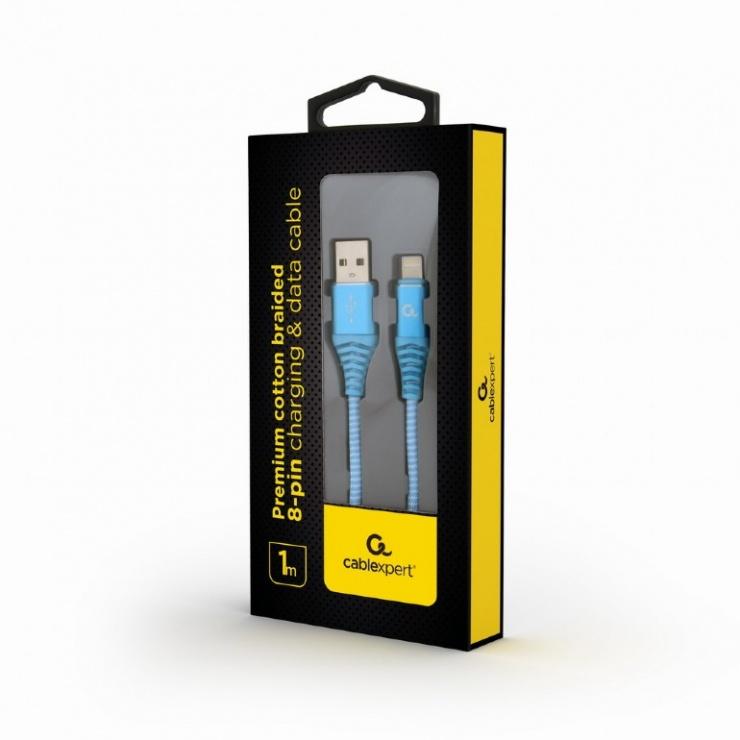 Imagine Cablu date + incarcare USB la iPhone Lightning Premium 1m Bleu/Alb, Gembird-1