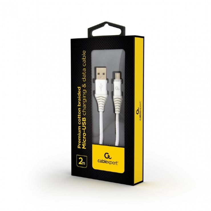 Imagine Cablu micro USB-B la USB 2.0 Premium Argintiu/Alb brodat 2m, Gembird-1