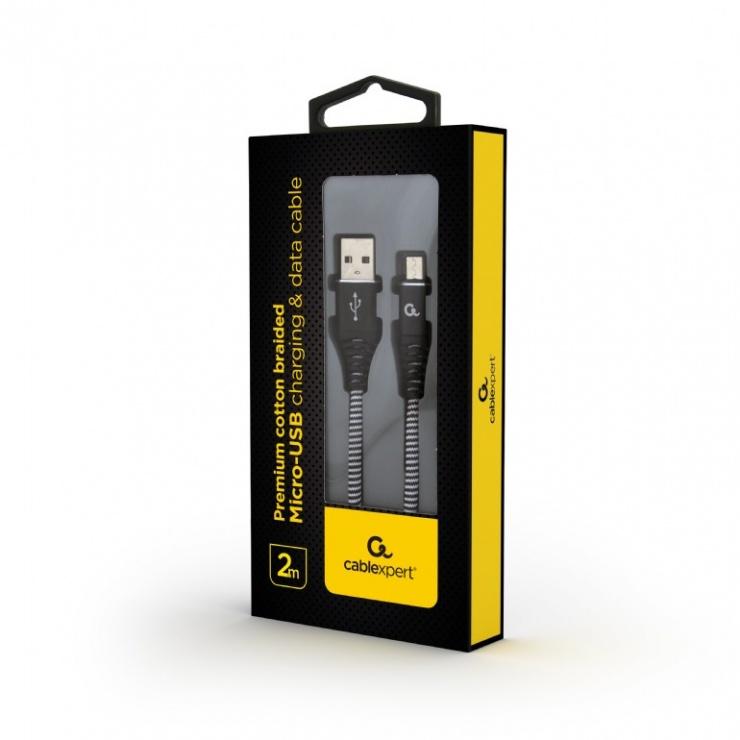 Imagine Cablu micro USB-B la USB 2.0 Premium Alb/Negru brodat 2m, Gembird-1