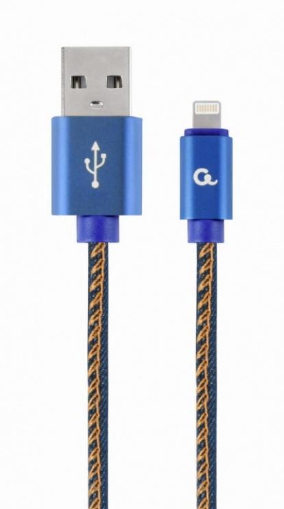 Imagine Cablu USB 2.0 la iPhone Lightning Premium jeans (denim) 1m, Gembird CC-USB2J-AMLM-1M-BL