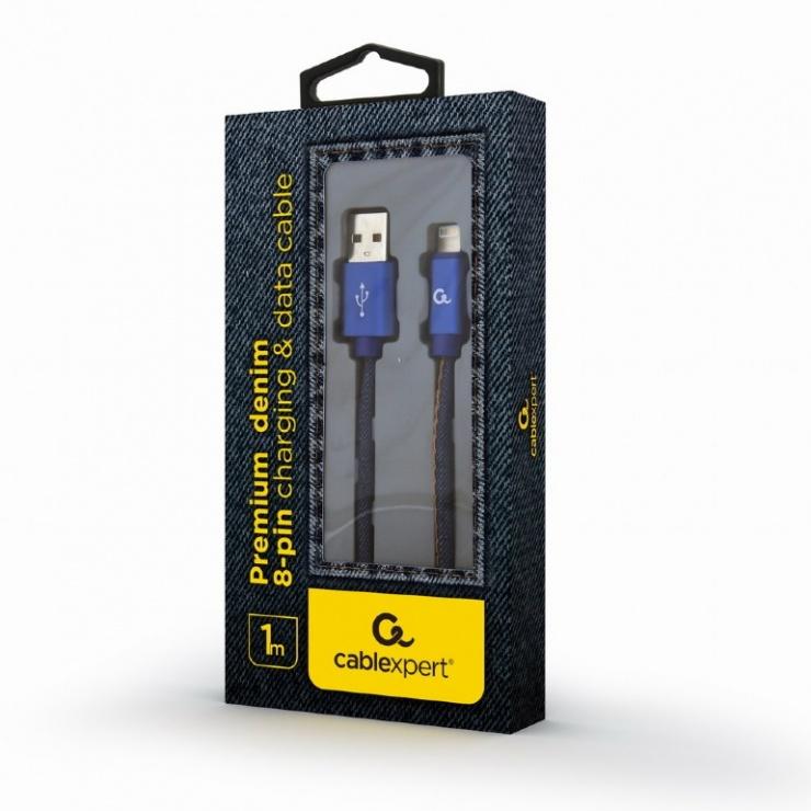Imagine Cablu USB 2.0 la iPhone Lightning Premium jeans (denim) 1m, Gembird-1
