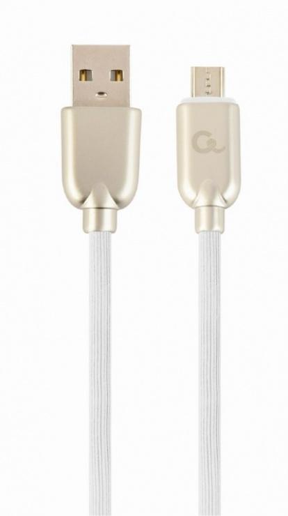 Imagine Cablu micro USB-B la USB 2.0 Premium 1m Alb, Gembird CC-USB2R-AMmBM-1M-W