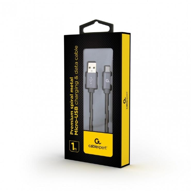 Imagine Cablu micro USB la USB 2.0 metalic spiral Premium 1m Metalic/Gri, Gembird-1