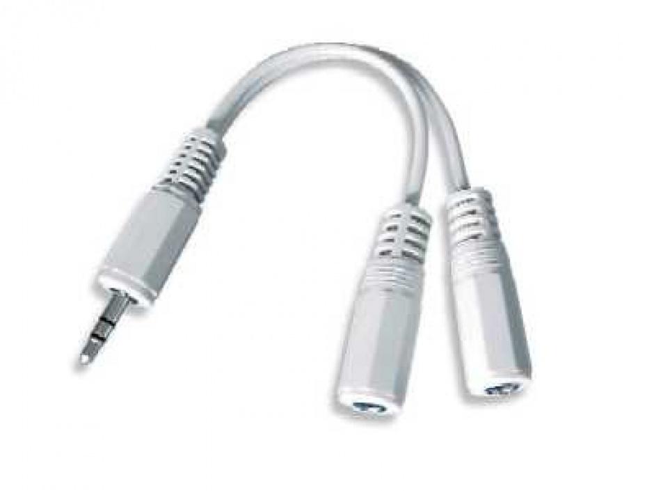 Imagine Cablu audio spliter jack 3.5mm la 2 x jack 3.5mm T-M, Gembird CCA-415W