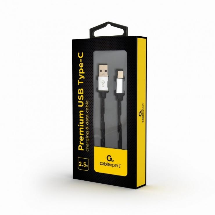 Imagine Cablu USB 2.0 la USB-C T-T 2.5m Negru brodat, Gembird CCP-USB2-AMCM-2.5M-3