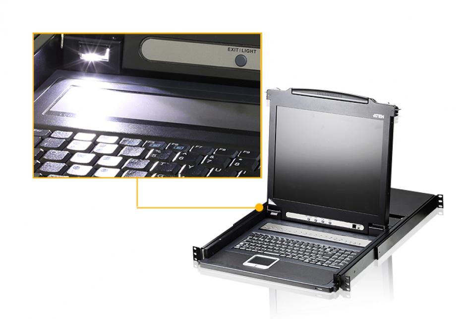"""Imagine Distribuitor KVM LCD 17"""" PS/2 VGA 16 porturi, ATEN CL1016-3"""