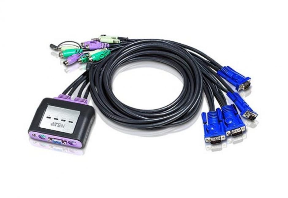 Imagine Distribuitor KVM PS/2 VGA/Audio 4 porturi 1.8m, ATEN Petite CS64AZ