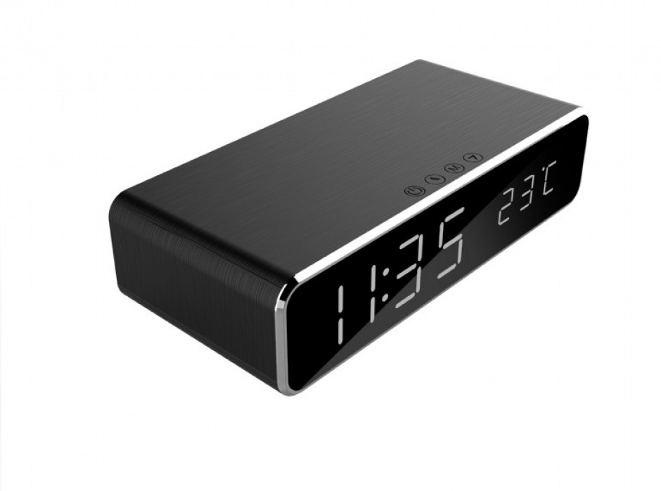 Imagine Ceas digital LCD cu alarma si incarcare wireless 5W Negru, Gembird DAC-WPC-01-1