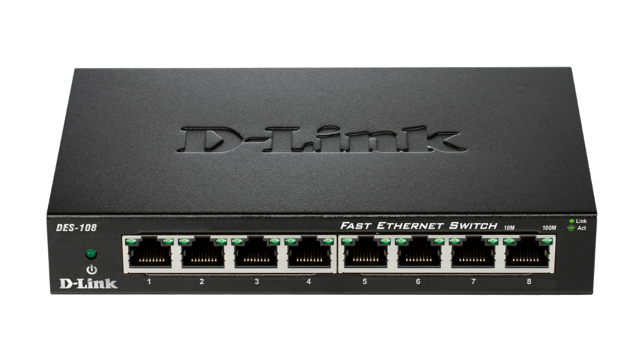 Imagine Switch 8 porturi 10/100 Mb/s carcasa metalica, D-LINK DES-108