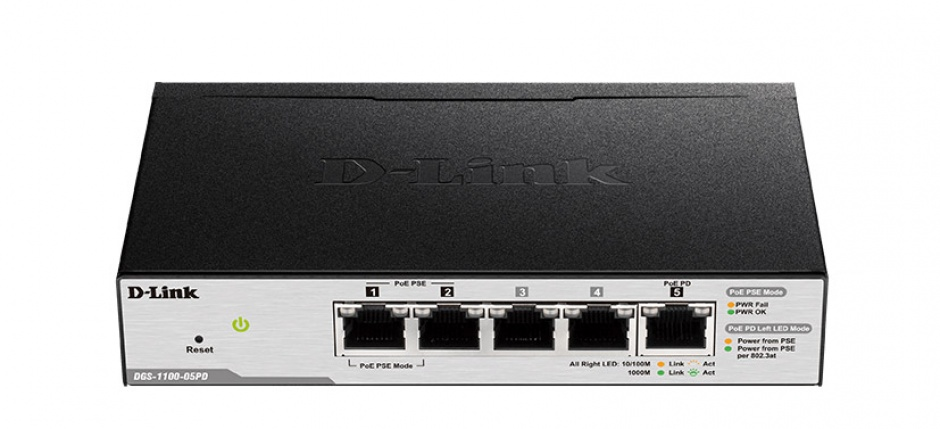 Imagine Switch smart 5 porturi Gigabit, carcasa metalica, D-LINK DGS-1100-05