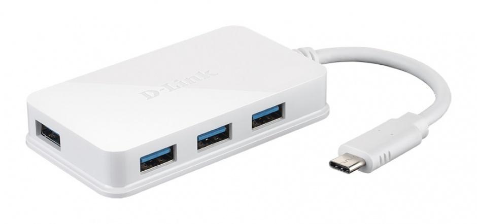 Imagine HUB USB-C 3.1 la 4 x USB-A Alb, D-LINK DUB-H410