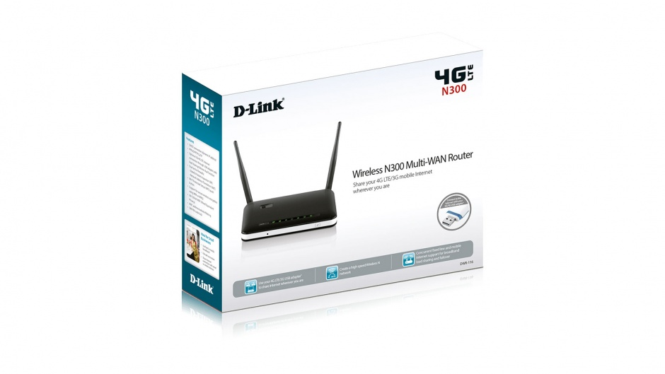Imagine Router wireless. 4G LTE 2 antene 300Mbps, D-LINK DWR-116-3