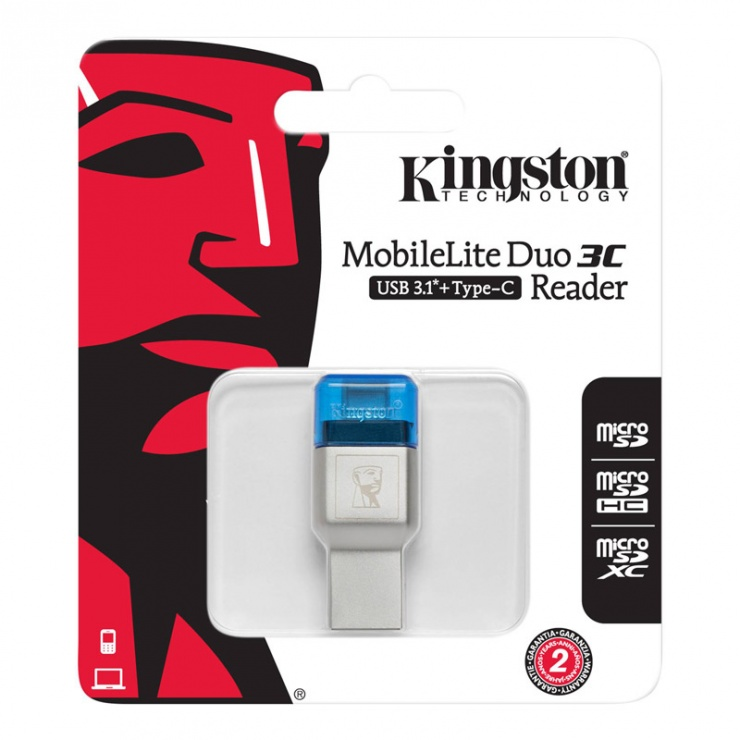 Imagine Cititor de carduri USB 3.1-C la microSD/SDHC/SDXC UHS-I, Kingston FCR-ML3C-2
