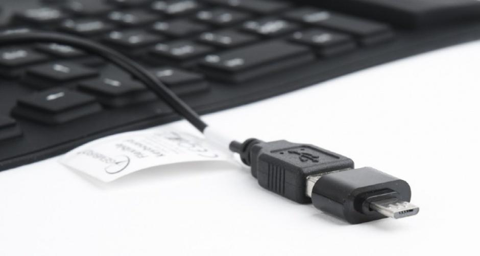 Imagine Tastatura flexibila USB cu adaptor OTG Negru, Gembird KB-109F-B-3