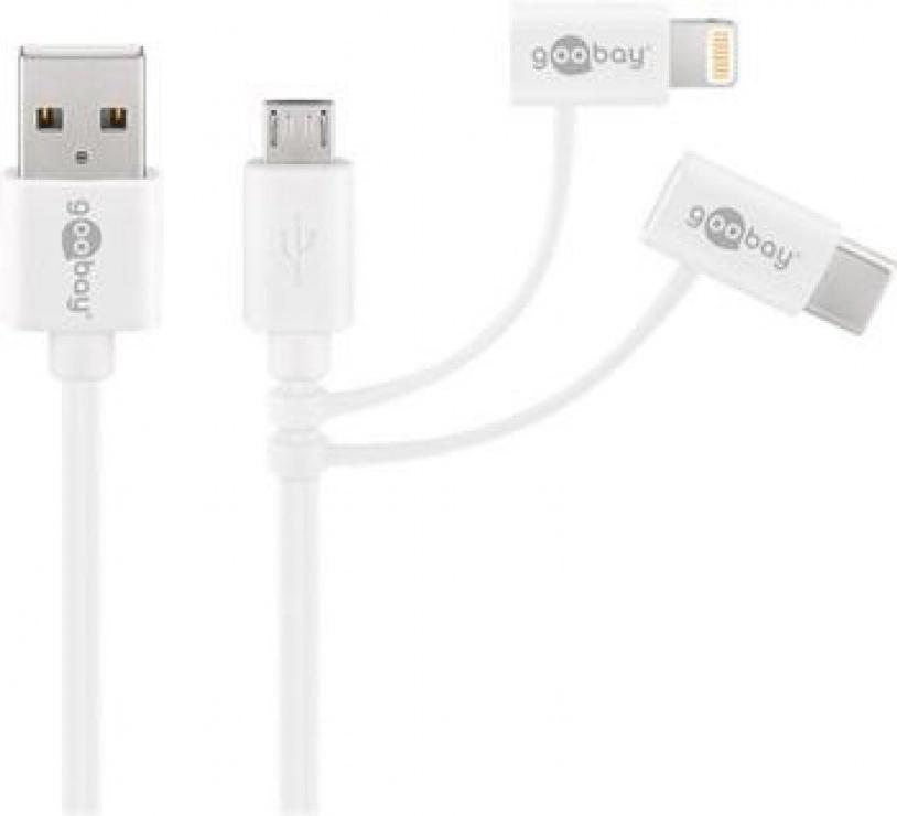 Imagine Cablu combo 3 in 1 micro USB cu adaptor USB-C si Lightning MFI 1m Alb, Goobay 45562