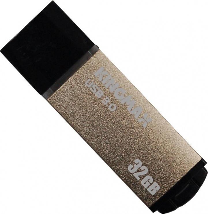 Imagine Stick USB 3.0 32GB MB-03, compact, aliaj aluminiu Gold, Kingmax