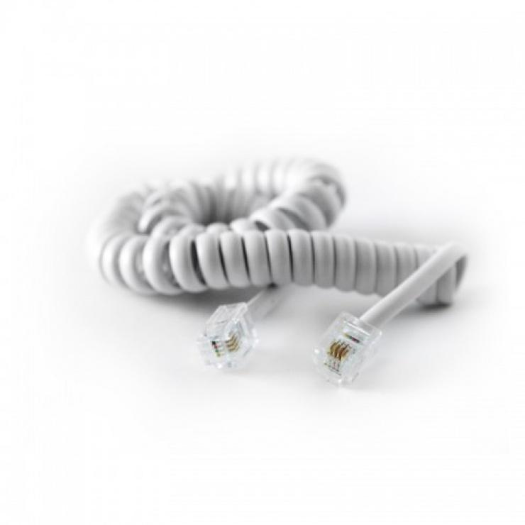 Imagine Cablu telefon RJ11 pentru receptor spiralat 2m Alb, KTCBLHE16006B