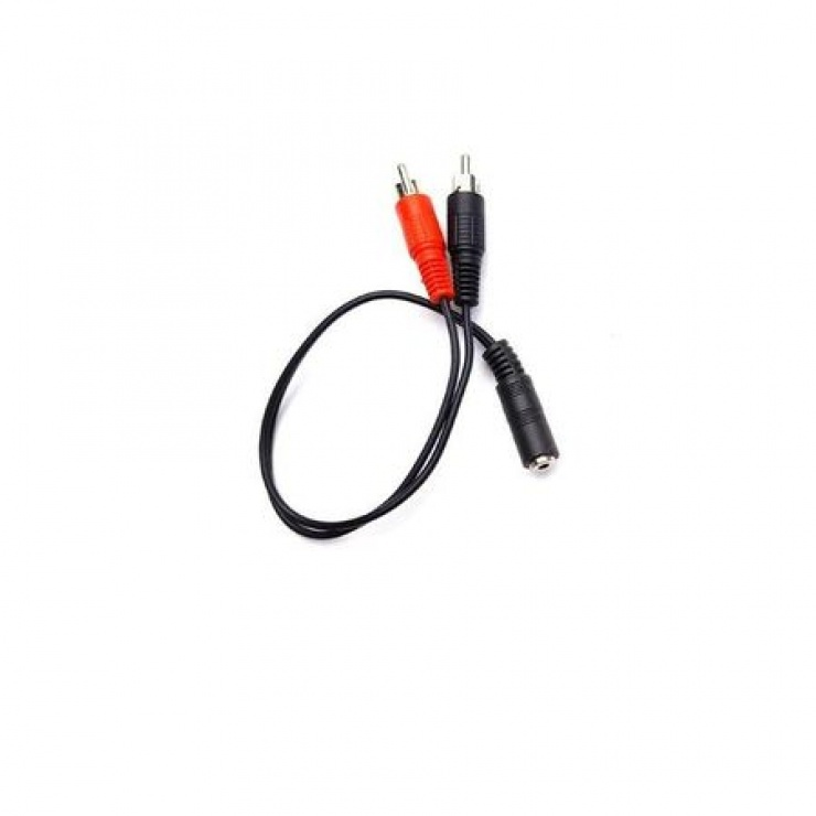 Imagine Adaptor jack 3.5mm la 2 x RCA M-T 0.2m negru, KTCBLHE17056