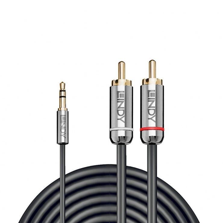 Imagine Cablu audio jack 3.5mm la 2 x RCA 1m T-T Antracit Cromo Line, Lindy L35333-1