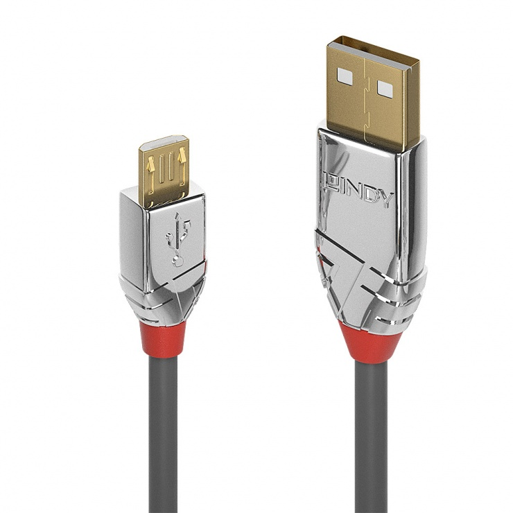 Imagine Cablu USB 2.0 la micro USB-B Cromo Line T-T 5m, Lindy L36654