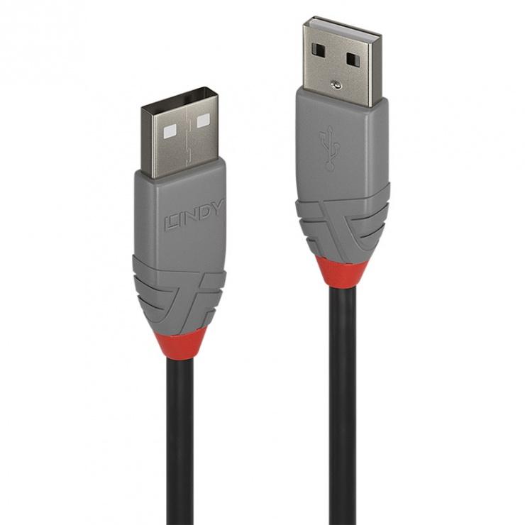 Imagine Cablu USB 2.0-A T-T 1m Anthra Line Gri, Lindy L36692