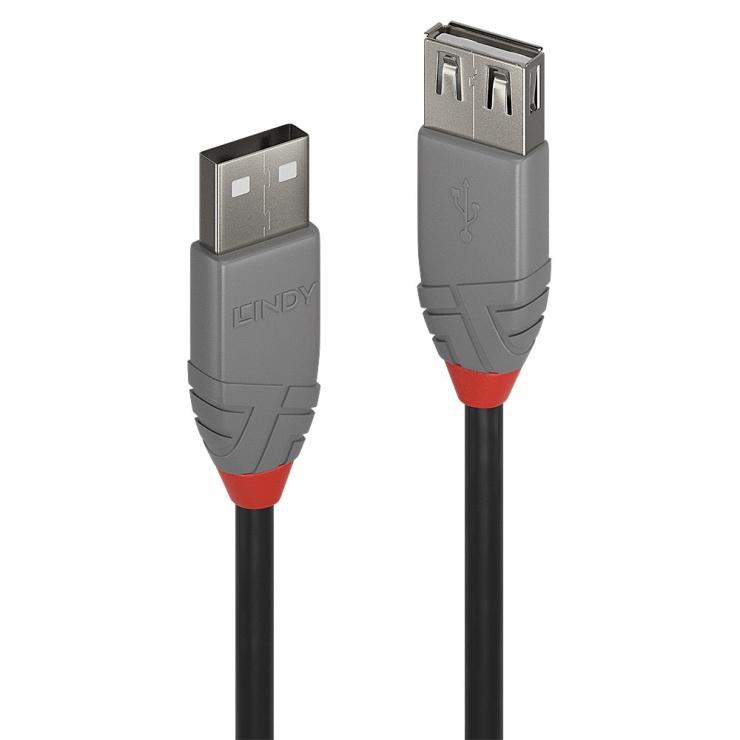 Imagine Cablu prelungitor USB 2.0 T-M 5m Anthra Line, Lindy L36705