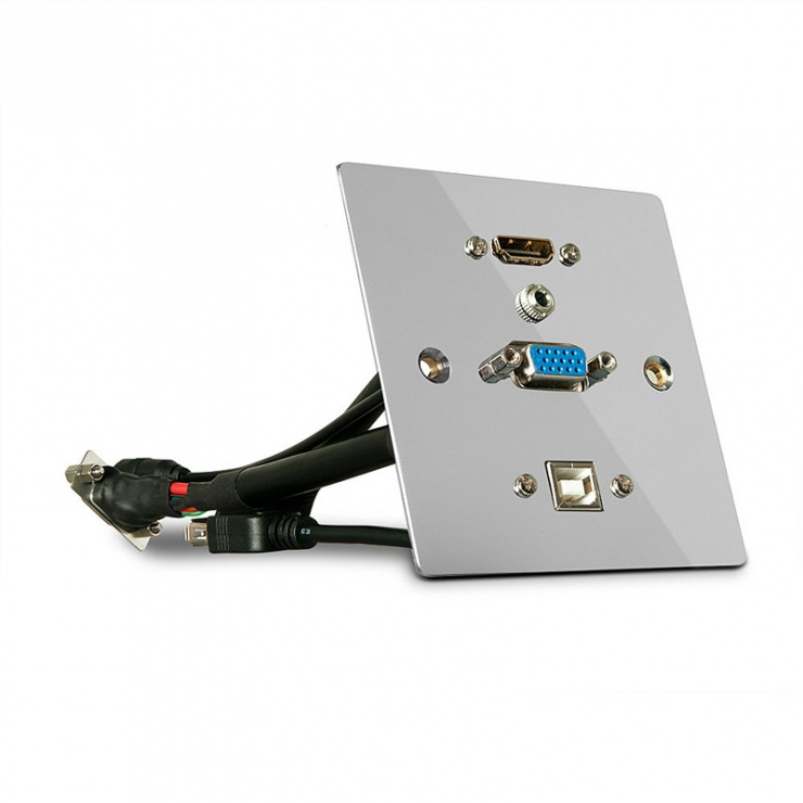 Imagine Priza aplicata metalica VGA, HDMI 4K Ultra HD, USB si Audio, Lindy L60216