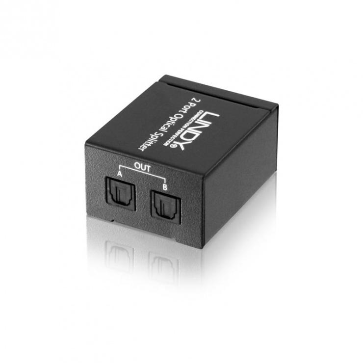 Imagine Multiplicator audio optic TosLink Digital 2 porturi, Lindy L70432-1