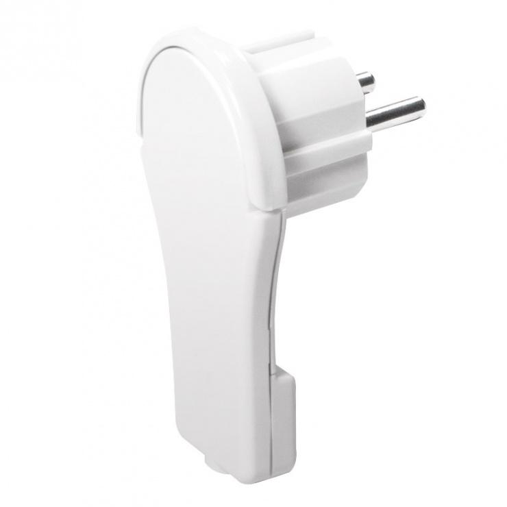 Imagine Conector flat Schuko 16A Cu maner pliabil ergonomic Alb, Logilink LPS228